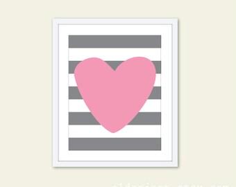 Heart And Stripes - Nursery Art Print - Modern Home Decor  - Nursery Wall Art - Pink and Grey