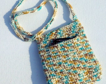 Crochet pouch bag small side slot opening Earth friendly vegan reuse gold turquoise white yarn three quarter shoulder strap