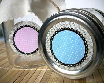 Cottage Chic Burlap canning jar labels, round mason jar labels for fruit vegetable preservation, jam jar labels, polka dot labels