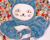 Blue Cat Security Blanket, Lovey, Lovey Blanket, Minky Baby Blanket, Stuffed Animal, Baby Toy, Teething Toy, Sensory Blanket, Baby Children