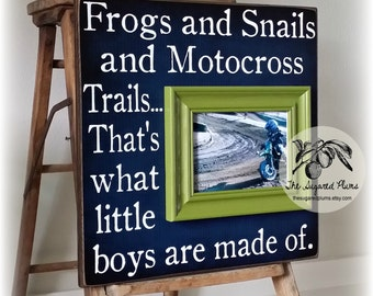 Baby Boy, What Little Boys Are Made Of, Baby Boy Nursery, Motocross, Navy Blue, Kelly Green, Nursery Decor, First Birthday, 16x16