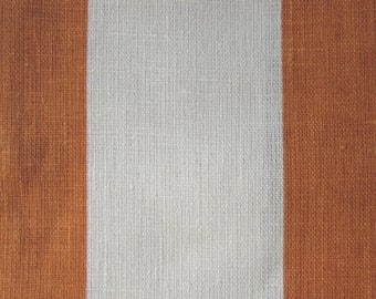 LINEN STRIPES tangerine on ivory 3 inch, home decor fabric