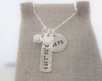 kids name and date mothers necklace | personalized name jewelry | hand stamped sterling silver mommy jewelry | push present | name and date