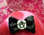 Anarchy - Black - Bow - Pleather - Hand Painted - Metal Single Prong Clip - Handmade in U.S.A.
