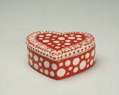 Small Heart Box Red and White Hand Painted