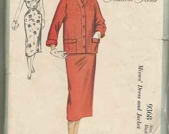 1950s Fashion Firsts Sheath Dress Slim Dress and Cardigan Princess Seams Kimono Sleeves McCall's 9368 Bust 34 Women's Vintage Sewing Pattern