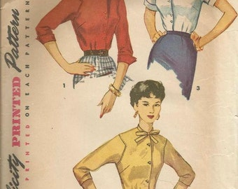 1950s Ladies Blouses Simple to Make Business Office Career Collar & Sleeve Variations Simplicity 4757 Size 12 Womens Vintage Sewing Pattern