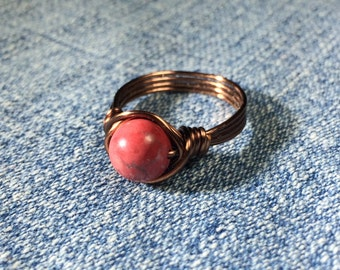 size 8.5 , 8 1/2 - Pink Magnesite Ring - antique copper wire wrapped - gemstone stone - metaphysical - accessories - women natural