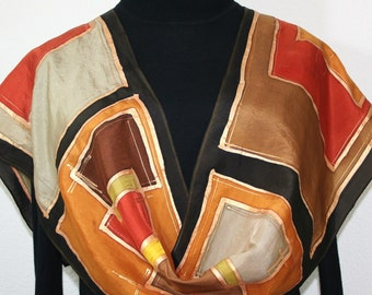 Silk Scarf Hand Painted, Silk Shawl Orange, Tan, Brown Silk Scarf AUTUMN SHADES, Size 11x60, Birthday Gift, Bridesmaid Gift, Free Gift-Wrap