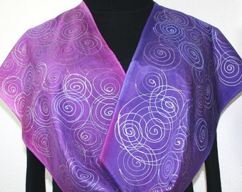 Purple Silk Scarf. Lavender Hand Painted Scarf. Handmade Silk Shawl AMETHYST GEM. Size 11x60. Birthday, Bridesmaid Gift. Gift-Wrapped
