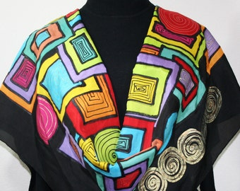 Silk Scarf Handpainted. Black, Yellow, Red Hand Painted Shawl. Handmade Silk Wrap MAYAN TREASURE. Extra Large 22x72. Birthday, Mother Gift