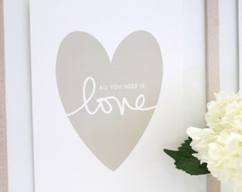 """Yellow/Gold Heart on Shimmer paper with """"all you need is love"""" / gold heart print  / hand lettering / all you need is // PRINT SIZE 8""""x10"""""""
