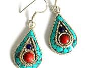 Nepal Tibet Turquoise & white mix Silver Drop shape Earrings  Bohemian Native inspired Tribal Ethnic dangle Earrings By Inali