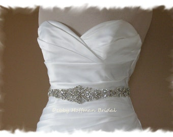 "Wedding Belt, 22"" Pearl Rhinestone Bridal Belt, Jeweled Wedding Dress Sash, Rhinestone Crystal Pearl Bridal Sash, No. 4060S4066-22, SALE"