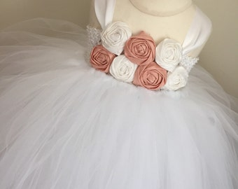 Blush pink and white flower girl dress, girls pale pink and white dress, pale pink wedding, girls tulle tutu dress