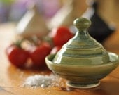 Ceramic Salt Cellar, Green/Blue