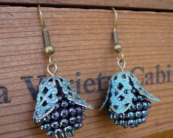 Filigree Black Berry Bead Earrings