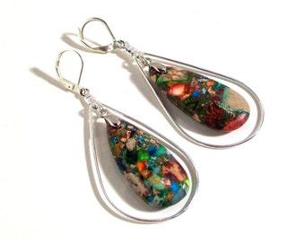 Sea Sediment, Large Tear Drop Gemstone Earrings, Multi Color Jasper Variscite Gemstone, Statement Earrings