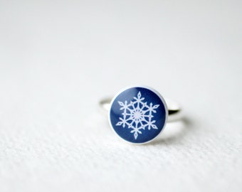 Navy Blue Snowflake Ring - Christmas jewelry - adjustable ring