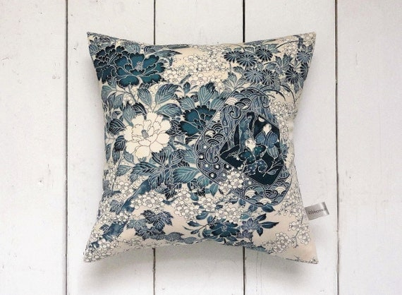 "Decorative French Blue Vintage Kimono Pillow Cushion 'Japanese Boys' (12"" x 12"")"