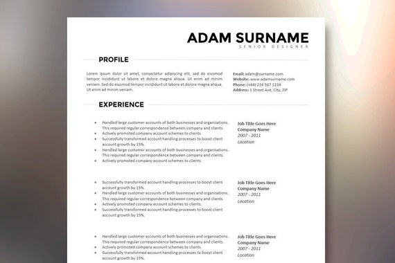 clean and modern resume  cv template - the adam