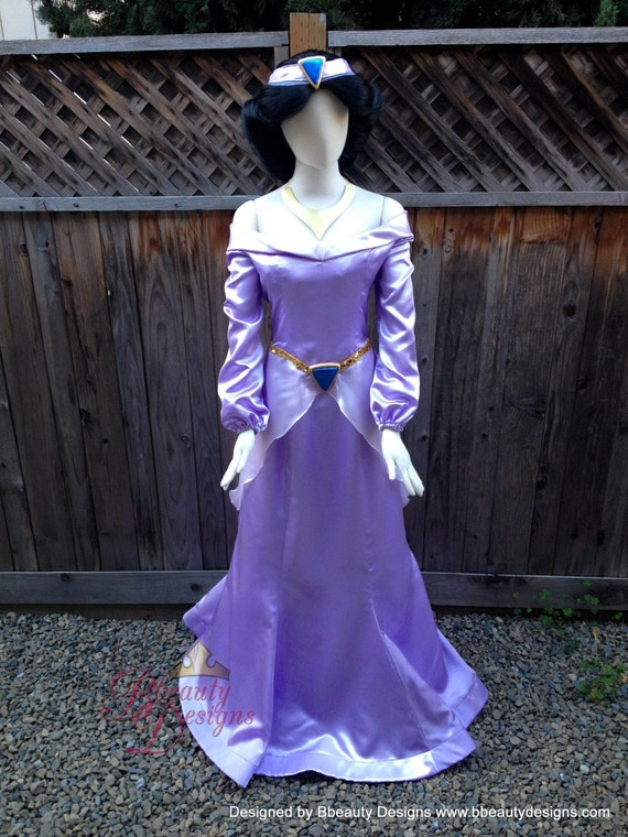 Jasmine purple dress costume adult size with headband and for Wedding dress costume for adults