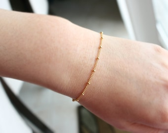 14K Gold Filled Tiny Dots Bracelet , Layering Bracelet , Stacking Bracelet , Gold Bracelet , Dainty Bracelet , Everyday Bracelet , Simple