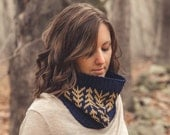 KNITTING PATTERN PDF for worsted weight color work cowl-Lodgepole