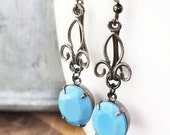 Turquoise Blue Fleur De Lis Earrings, Opaque Rhinestone, Gunmetal Gray Wire, Dangle