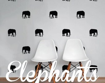 Elephants Wall Decal Pack, Vinyl Wall Sticker Decal Art Pattern WAL-2190