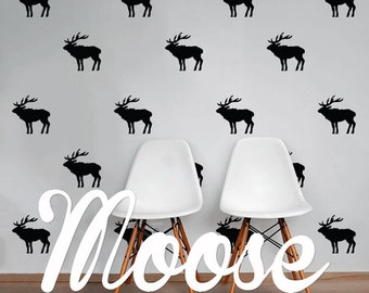Moose Wall Decal Pack, Animals Modern Geometric Pattern Vinyl Wall Stickers WAL-2229