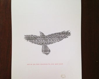 and so you hold abundance in your open heart - limited edition word art print