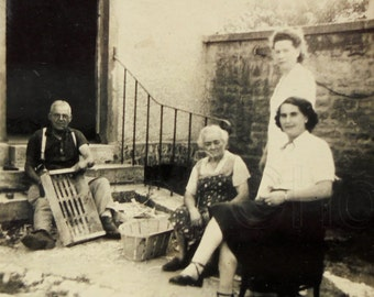 Vintage French Photo - Crate Making in the Backyard