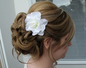 Wedding hair accessories Bridal hair clip White gardenia bobby pin bridesmaids flower girls
