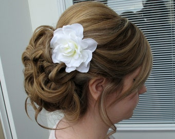 Wedding hair accessories, Bridal hair clip White gardenia hair pin bridesmaids flower girls