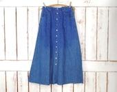 Vintage ombre blue jean denim button down high waisted maxi skirt/long denim skirt