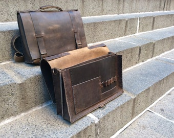 Leather briefcase bag, Double gusset computer briefcase, Dark brown leather attache, Leather gusset brief case 5 section computer bag