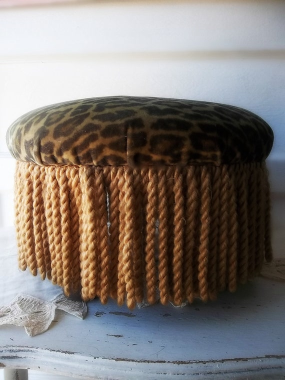 Vintage Bohemian Fringed Footstool Upholstered By
