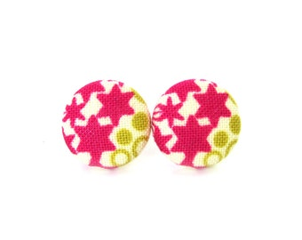 Pink earrings - pink stud earrings - pink button earrings - fabric button studs - tiny white green bright happy funky jewelry