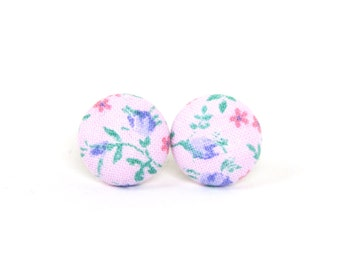 Tiny stud earrings - small fabric button earrings - pink purple green flowers romantic - nickel free