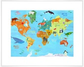 Animals Around the World, Map Art Print