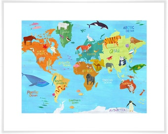 Animals Around the World, Map Art Print, Geography
