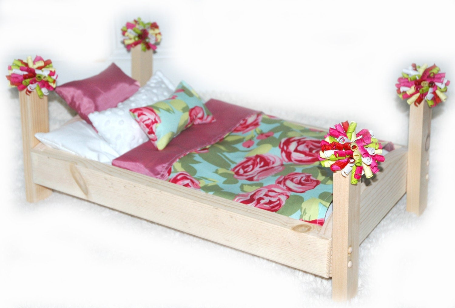 Doll bed rose garden fits 18 inch dolls and ag dolls for Garden tools for 18 inch doll