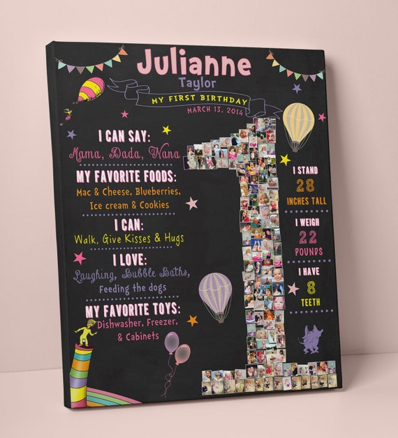 Birthday Sign Ups: HOT AIR Balloon Chalkboard Sign First Year Chalkboard 1st
