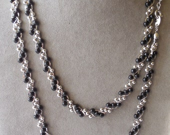 2 TRIFARI Twisted Black and Silver Chain Necklaces