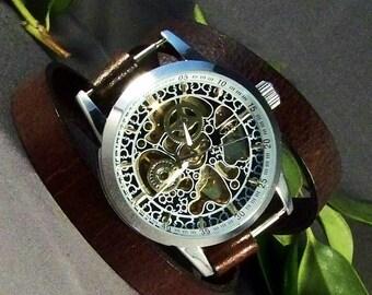 Leather Watch-Handmade Watch-Women Watches-Men Watches-Mechanical watch-Steampunk Watch-Gift For Men-Gift For Women-Wrap Bracelet-Wrap Watch