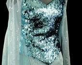 Snow Queen Elsa Costume- Dangle Sequin Corset