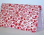 Checkbook Cover, Red Hearts, Snowflakes, Gift For Her, Money, Checkbook Holder, Gift Under 15, Wallet, Fabric