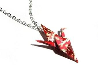 Origami Crane Necklace Pink Raspberry Peace Crane Necklace