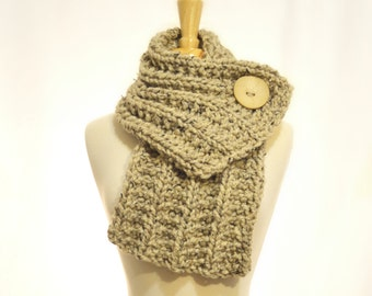Button Cowl - Oatmeal Brown with a Cream Button